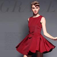Fashion brief handmade three-dimensional bow big a one-piece dress