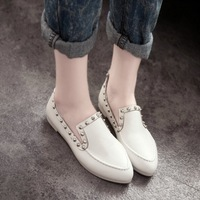 Free shipping spring and autumn fashion trend of the rivet street casual flat pointed toe foot wrapping women's low single shoes