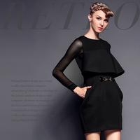 Fashion high quality metal chain high waist ruffle fashion faux two piece stripe one-piece dress