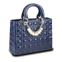 Bag 2014 spring japanned leather check female handbag pearl vintage women's handbag bag