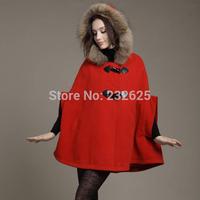 Women's 2014 autumn wool cloak wool coat overcoat fur collar cloak woolen outerwear cape