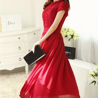 2014 autumn plus size clothing short-sleeve slim chiffon one-piece dress elegant full dress