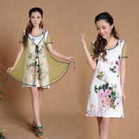 7257 # China style 2014 new summer dress Slim