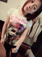 2014 fashion personality letter head portrait fashion t-shirt t female