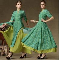 Vintage royal 2014 of improved cheongsam stand collar one-piece dress irregular three quarter sleeve chiffon full dress