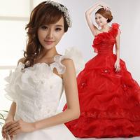 2014 one flower shoulder white sweet princess straps red wedding dress bride