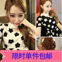 Hot-selling 2014 color block decoration cutout flower short-sleeve slim waist chiffon one-piece dress