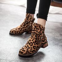 2014 autumn and winter boots leopard print flat zipper boots womens shoes boots women's martin boots