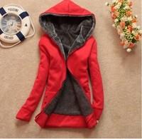 2014 Autumn Winter Fashion Women's Hooded Coat Thickening Wool liner Long-sleeved Hoodies Plus velvet Cotton Sweatshirts
