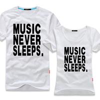 men boys Summer music never sleeps musicial band team cheap gift short sleeve dancer hip hop women unisex 6XL 5XL plus size fat