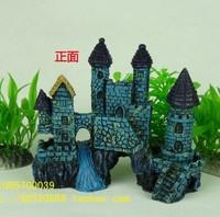Aquarium Decoration Ancient Castle L15cm*W6cm*H13cm Rockery Blue For Fish Tank Resin Ornaments free shipping