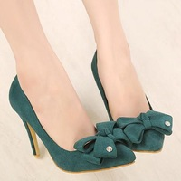 2014 new green big bow Princess cusp high-heeled low with the wedding shoes 3067