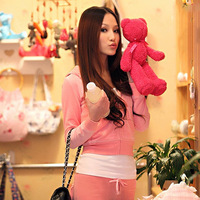 2014 autumn velvet women's slim sports set casual set plus size sweatshirt set piece set