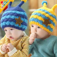 winter new baby kids apparel accessories korean bee  cap children warm beaneis  printed five stars girls  boys plus velvet hats