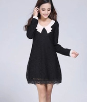 Doll collar long-sleeved lace dress  Large size women