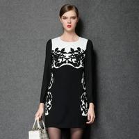 Autumn Runway Catwalk Black Dress Contrast White Europe Ramie Cotton Flower Print Long Sleeve Casual Plus Size Dress For Women