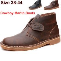 Madden Mens Boots 2014 NEW Top Quality Brand Desert Boots Retro Style Martin Boots Genuine Leather Short Ankle Shoes Man
