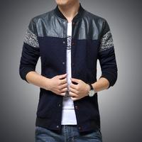 Jvav 2014 autumn outerwear man jacket slim leather jacket plus size leather patchwork jacket coat