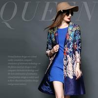 Fashion high quality print turn-down collar slim waist medium-long overcoat