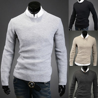 Free Shipping 2014 Mens simple basic classic sweaters casual pullover men thick thread solid color mens sweaters M-XXL