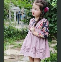 Flower t-shirt 2 braces skirt long-sleeve dress children's clothing 14 flo