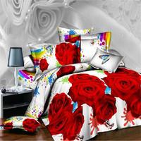 Cotton 100% 3d three-dimensional oil painting reactive print bed sheet duvet cover piece set 100% cotton bedding