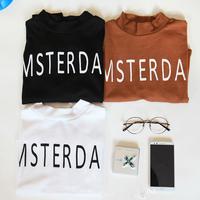 2014 new brief print letter slim long-sleeve turtleneck women t shirt small letter short design women's T-shirt long-sleeve top