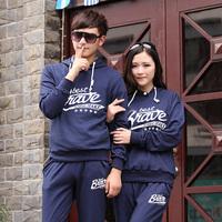 Jiesen 2014 a male with hood sweatshirt men's clothing casual sports lovers set outerwear