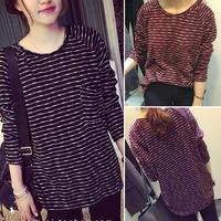 2014 new autumn stripe slub preppy style black women t shirt cotton loose long-sleeve o-neck women's T-shirt