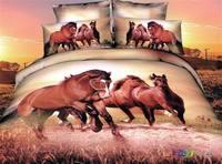 3d 100% activated three-dimensional cotton print piece set princess bedding 100% cotton four piece set bedding horse