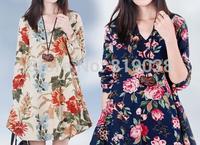 2014 Hitz loose cotton dress Linen long-sleeved dress big yards Women's Clothing