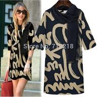 2014 autumn plus size clothing half-sleeve dress with silk scarf  women summer and autumn vestidos plus size women clothing