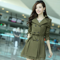 New Arrival 2014 Fashion Autumn Women's Slim Lace Design 3XL Outerwear Trench Coat For Women