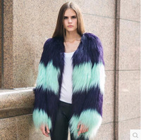 2014 New Fashion Women Color Block Gradient Eco-friendly Goat Wool Fur Coat Faux Fur Overcoat For Sale Free Shipping