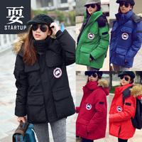 Free shipping thick wadded jacket large fur collar medium-long loose plus size female winter hiking clothing ski suit