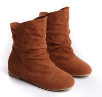 2014 autumn sweet women's fashion short boots British flat heels flats knight boots shoes women big size 34-41 for women