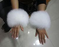 Fox fur cuff oversleeps pat circle fur collar scarf muffler overcoat outerwear cuff genuine leather real fur