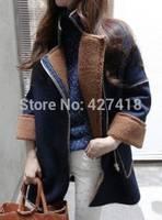 2014 autumn and winter fashion plus size thickening knitted berber fleece overcoat woolen outerwear female winter coat women