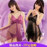 Lace transparent milk sexy sleepwear uniform set adult women's belt panties 8599