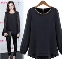 2015 fashion star autumn women's thickening chiffon shirt basic shirt long-sleeve