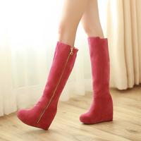 14 autumn and winter boots zipper style high-leg boots single boots platform wedges ultra high heels snow boots female elevator