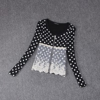 Free shipping 2014 spring and autumn elegant ladies polka dot patchwork lace zipper outerwear women's