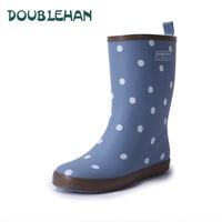Doublehan 2014 women's knee-high fashion light comfortable women rain boots water shoes rubber boots rain shoes