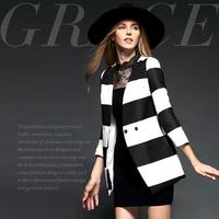 Fashion stripe print fashion classic double breasted slim overcoat