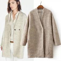 Top Quality Europe Elegant Womens Wool Blend Boyfriend Long Jacket Coat Trench Free Shipping