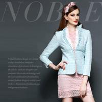 Fashion high quality handmade flower ruffle silveryarn grid slim waist short overcoat
