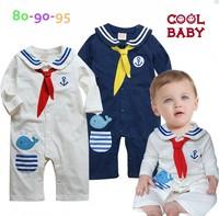 Carme children's clothing boy child autumn navy long-sleeve one piece romper baby romper bodysuits size 80-95cm kids romper