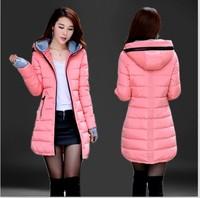 2014 winter new lady padded down fashion Slim thin coat hooded women long padded free shipping
