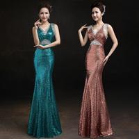 Sexy V neck fish tail paillette lace evening dress long style evening dress fish tail design slim party Show dress