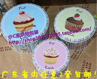 The beautiful fashion round tin box of three-piece suit for cookie,candy and other gifts different colors